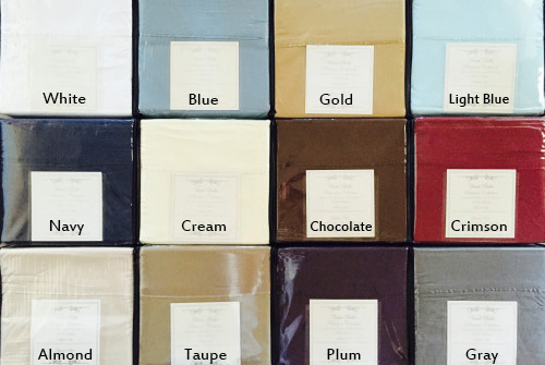Sheet colors from top left row by row: White, Blue, Gold, Light Blue, Navy, Cream, Chocolate, Crimson, Almond, Taupe, Plum, Gray